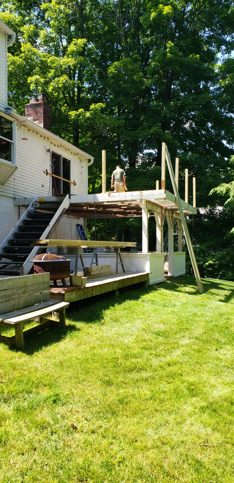 Getting started with the deck remodel in Newtown, CT.