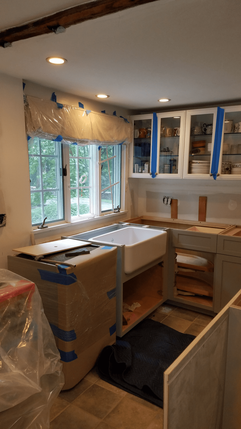 PD Remodels progress on remodeling this beautiful kitchen in Weston, CT