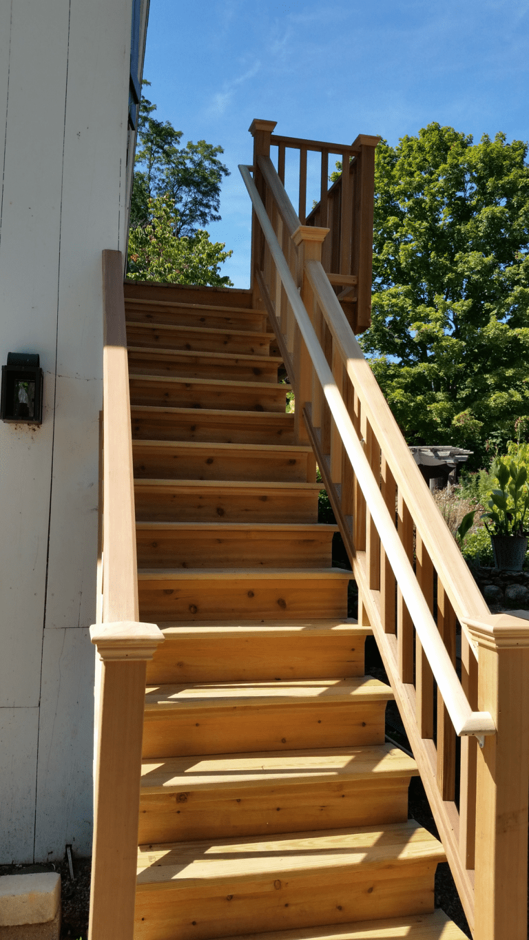 These Beautiful Outdoor Stairs were constructed by PD Remodels with cedar wood in Wilton, CT 06897